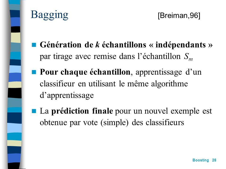 Bagging [Breiman,96] Génération de k échantillons « indépendants » par tirage avec remise dans l'échantillon Sm.